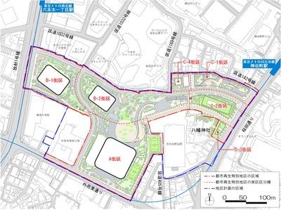 虎ノ門・麻布台地区第一種市街地再開発事業 配置図