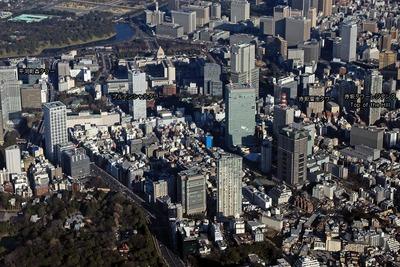 東京超高層ビル群の空撮