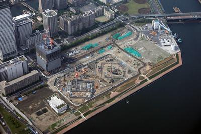 中央区晴海二丁目マンション計画の空撮