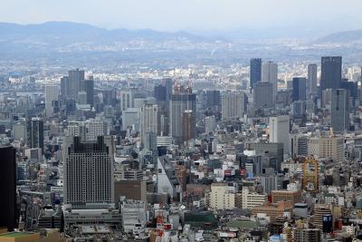 あべのハルカスから見た大阪ひびきの街 ザ・サンクタスタワー方面