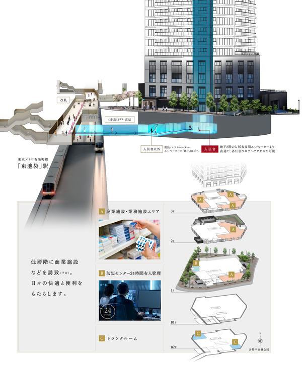 プラウドタワー東池袋ステーションアリーナ 各階平面概念図
