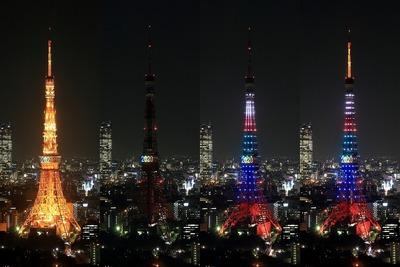 世界貿易センターから見た東京タワーの2020五輪誘致特別ライトアップ