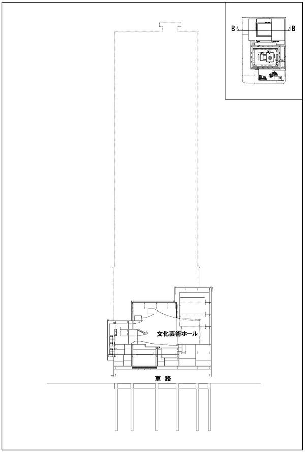 浜松町二丁目地区第一種市街地再開発事業 断面図(B 断面)
