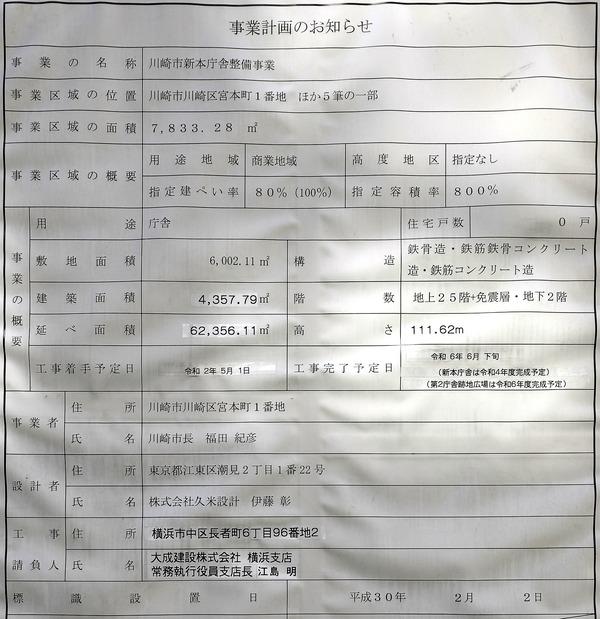 川崎市新本庁舎整備事業 事業計画のお知らせ