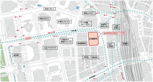(仮称)西新宿一丁目地区プロジェクト 案内図