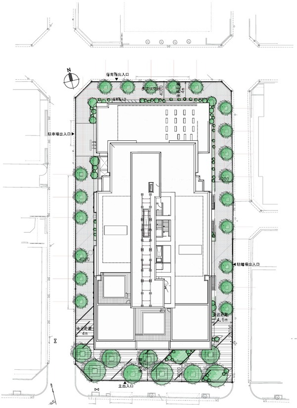 (仮称)新宿区四谷4丁目計画 配置図
