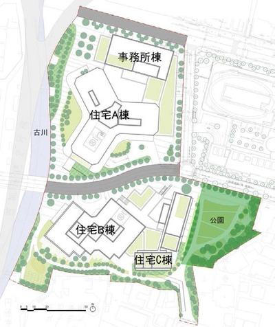 三田小山町西地区の配置図