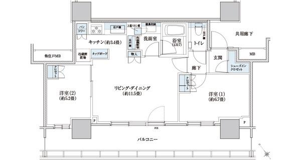 ブリリアタワー浜離宮 58A Type