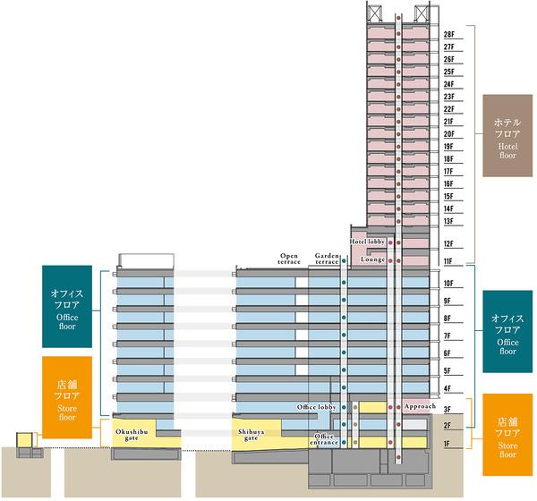 (仮称)渋谷区道玄坂二丁目開発計画 立面図