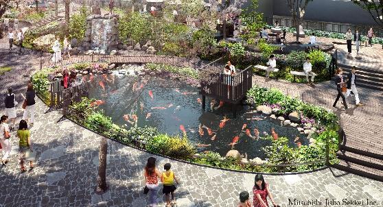 TOKYO TORCH 親水空間内「錦鯉が泳ぐ池」