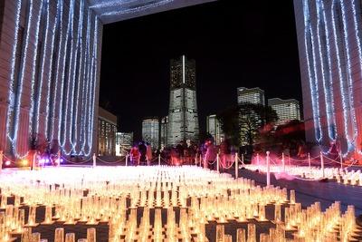 ナビオス横浜のキャンドルと全館点灯