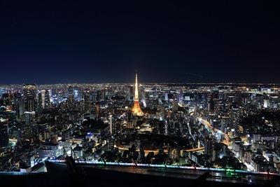 六本木ヒルズから東京タワー夜景を見る