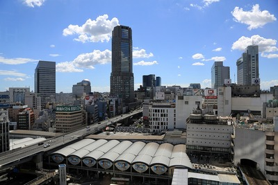 渋谷ヒカリエから見た渋谷駅方面