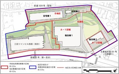 三田三・四丁目地区再開発 配置図