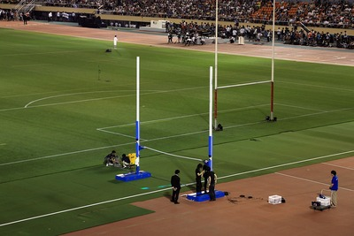 国立競技場ファイナルセレモニー準備中