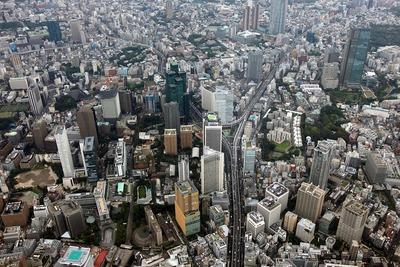 赤坂・六本木・虎ノ門の超高層ビル群の空撮