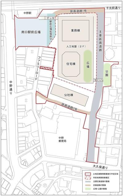 中野二丁目地区市街地再開発の概要図