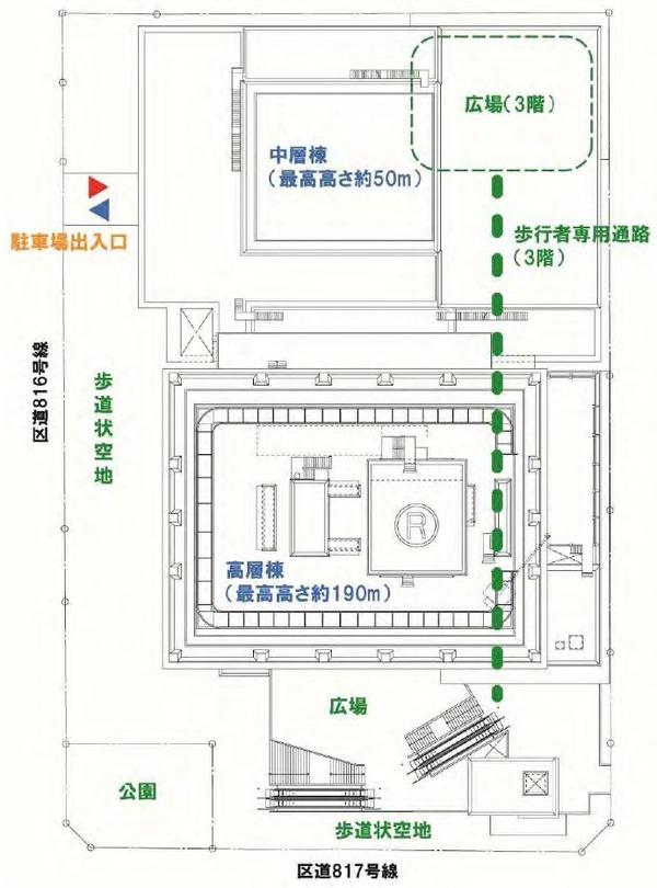 浜松町二丁目地区第一種市街地再開発事業 配置計画図