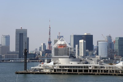 豊洲市場 屋上緑化広場から見た東京タワー