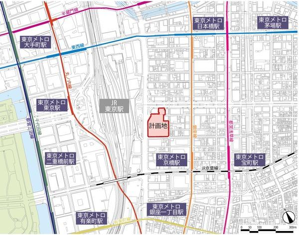 八重洲二丁目北地区第一種市街地再開発事業 位置図