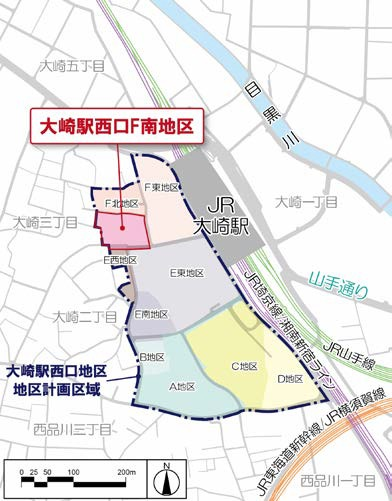 大崎駅西口F南地区第一種市街地再開発事業 位置図