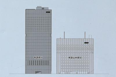 KDDI大阪第2ビル新築工事の南面立面図