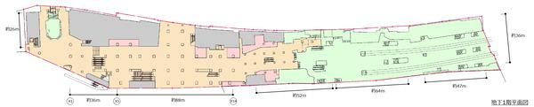 (仮称)新宿駅西口地区開発計画 地下1階平面図