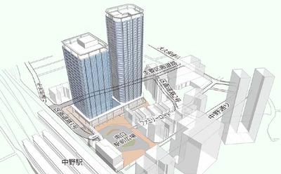 中野二丁目地区第1種市街地再開発事業 外観イメージ図