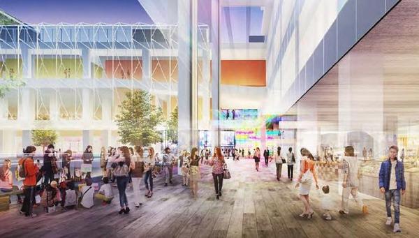 中野駅新北口駅前エリア拠点施設整備事業 歩行者空間完成予想パース