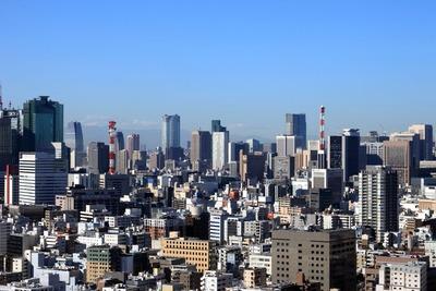 リバーシティ21新川から虎ノ門方面の超高層ビル群