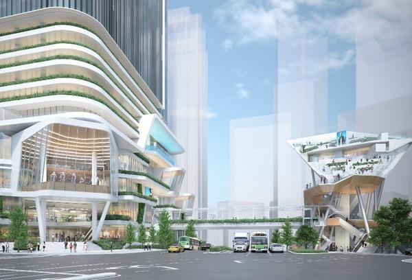 (仮称)渋谷二丁目西地区第一種市街地再開発事業 北側(青山通り側)から見たA街区B街区