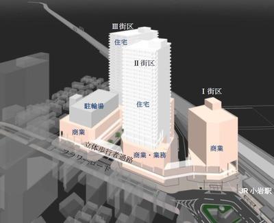 南小岩六丁目地区第一種市街地再開発事業 完成予想図