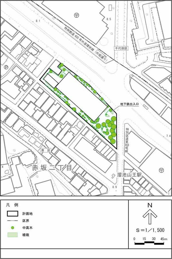 (仮称)赤坂二丁目計画 緑化計画図