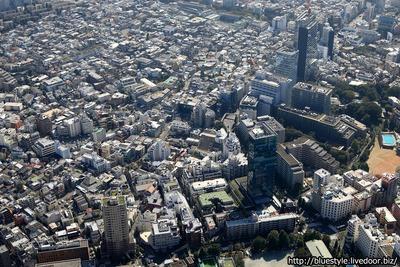 原宿・神宮前方面の空撮