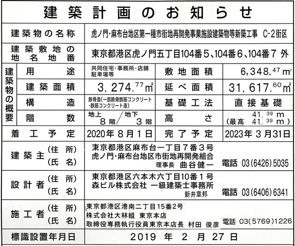 虎ノ門・麻布台プロジェクト C-2街区 建築計画のお知らせ