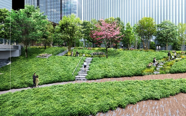 虎ノ門二丁目地区第一種市街地再開発事業 緑地イメージパース