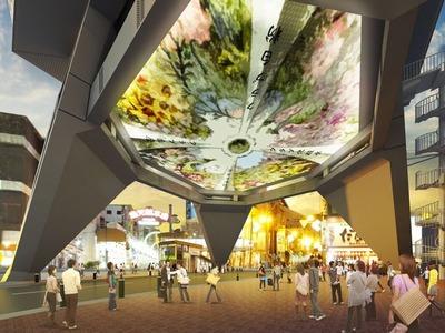 通天閣「エントランス吹き抜け大天井」を復刻させたイメージ図