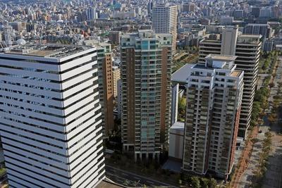 福岡タワーから見たグランドメゾン百道浜とグランドメゾン百道浜オーシャン&フォレスト