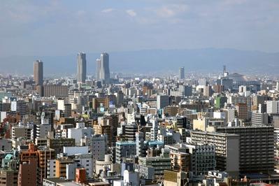 通天閣から弁天町・京セラドーム大阪方面の眺め