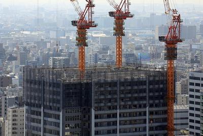 オリックス本町ビルから見た大阪ひびきの街 ザ・サンクタスタワー