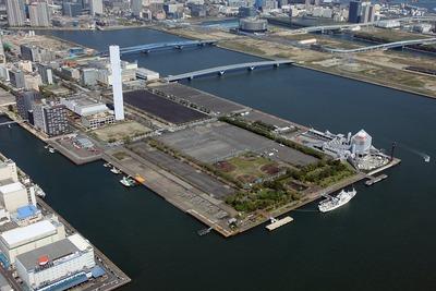 東京オリンピックの選手村の予定地(晴海埠頭)の空撮