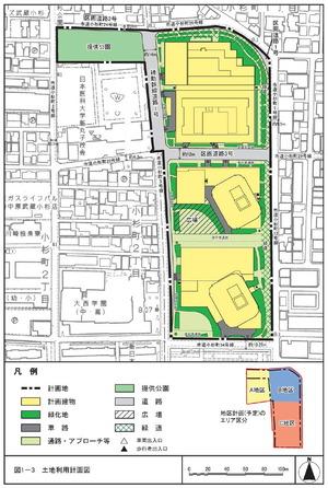 学校法人日本医科大学武蔵小杉キャンパス再開発計画の土地計画図