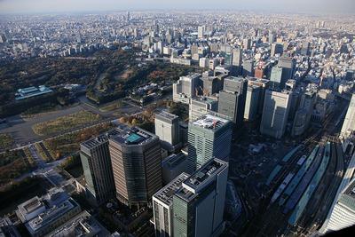 丸の内・大手町の超高層ビル群の空撮
