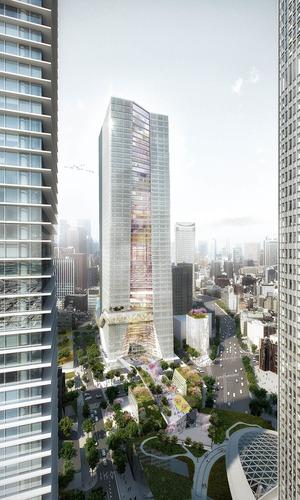 (仮称)虎ノ門ヒルズ ステーションタワーの完成予想図
