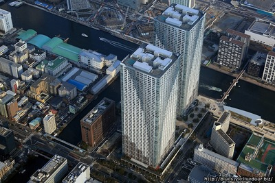 勝どき東地区とTHE TOKYO TOWERSの空撮