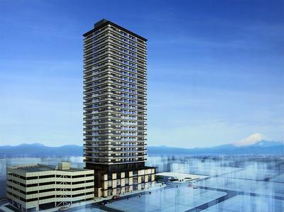 草薙駅南口地区第一種市街地再開発事業の完成予想図
