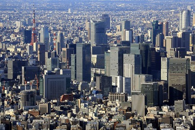 東京スカイツリーから見た<strong>日本橋</strong>方面の眺め