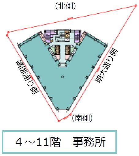 神田小川町三丁目西部南地区第一種市街地再開発事業 施設建築物のイメージ(4〜11階)