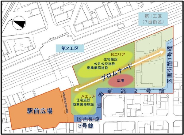蕨駅西口地区第一種市街地再開発事業 計画配置図