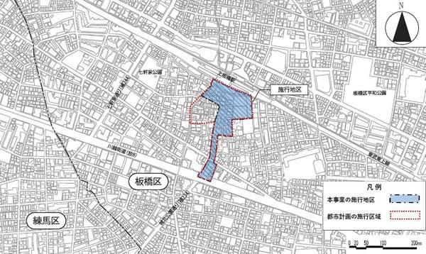 上板橋駅南口駅前東地区第一種市街地再開発事業 位置図